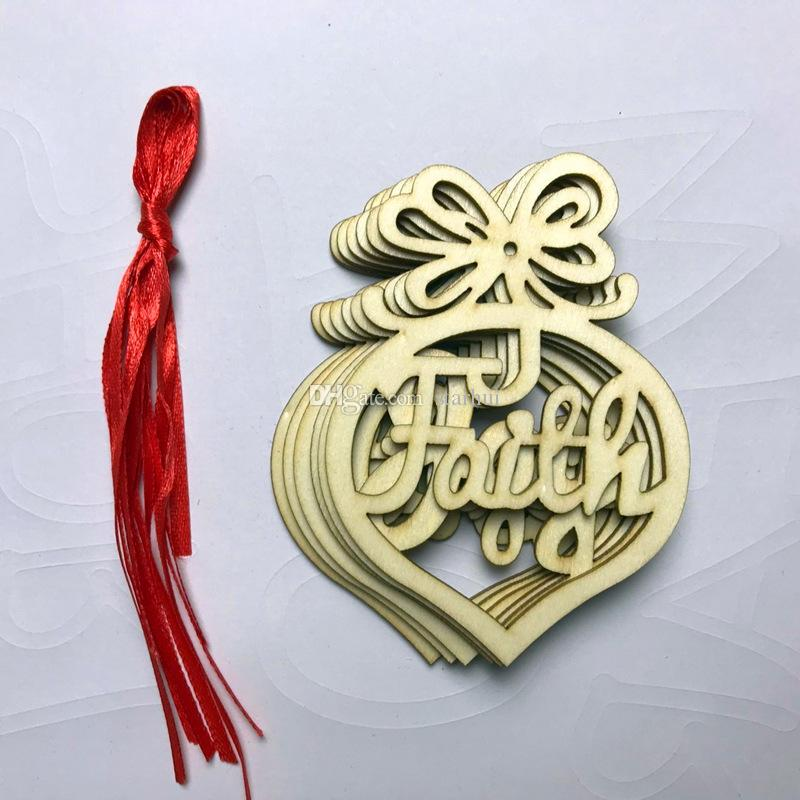 Christmas Tree Ornaments Wood Chip Heart Bubble Pattern Hanging Pendant Xmas Home Festival Party Decoration Gift WX9-124