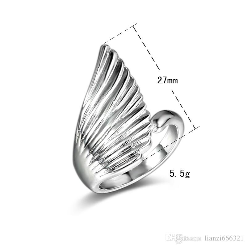 New 925 Sterling Silver fashion jewelry Angel Wings with White Diamond With Pave zircon ring hot sell girl gift 1743