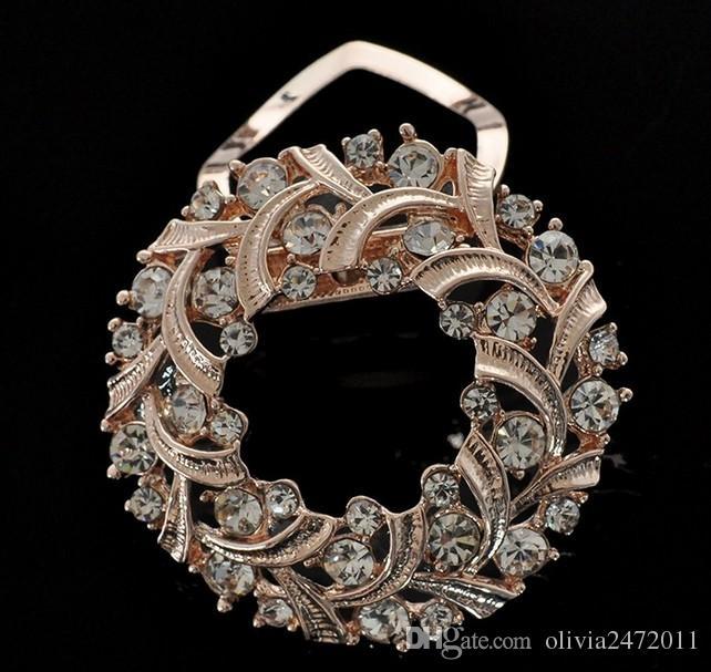 Xmas Gifts silk scarf buckle dual shiny rhinestone brooch pendant scarf brooch rhinestone corolla buckle brooch dual for women DC