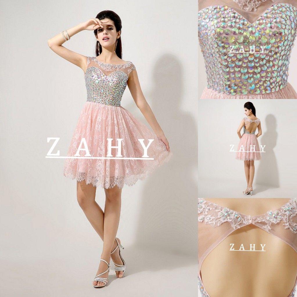 ef3164640aa Розовые кружева 2015 летние платья выпускного вечера A-Line Backless MiNi  Crystal Body Short Formal Вечерние вечерние платья вечерних платьев BB22