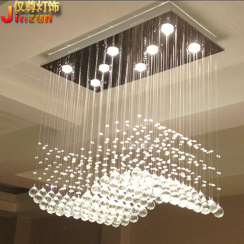 Rectangular Crystal Lamp Living Room Lights Restaurant Wavy S Shaped Partition Bar Chandelier Lighting With A Modern Minimalist