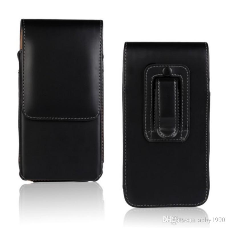Cinto Universal Clipe de Couro PU Cintura Titular Bolsa Flip Case para Panasonic Eluga I3 Mega / Pulso X / Pure