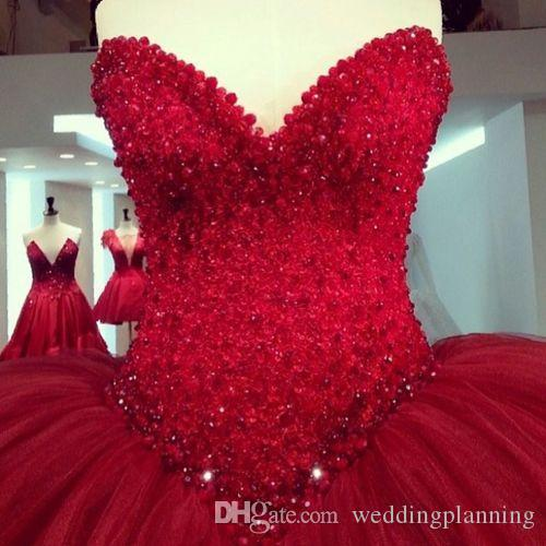 Romantic Ball Gown Wedding Dresses Luxury Sexy Red Wedding Gowns Dubai Abaya Vintage Ruffles Elie Saab Islamic Discount Wedding Dress