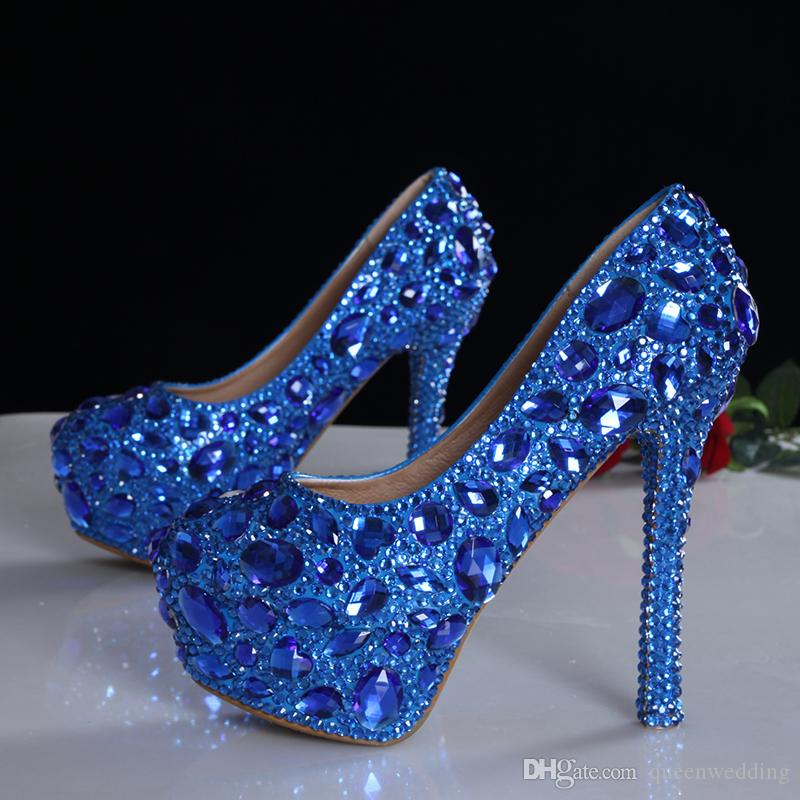 2016 Luxury Blue Black Crystals Diamond Wedding Shoes High