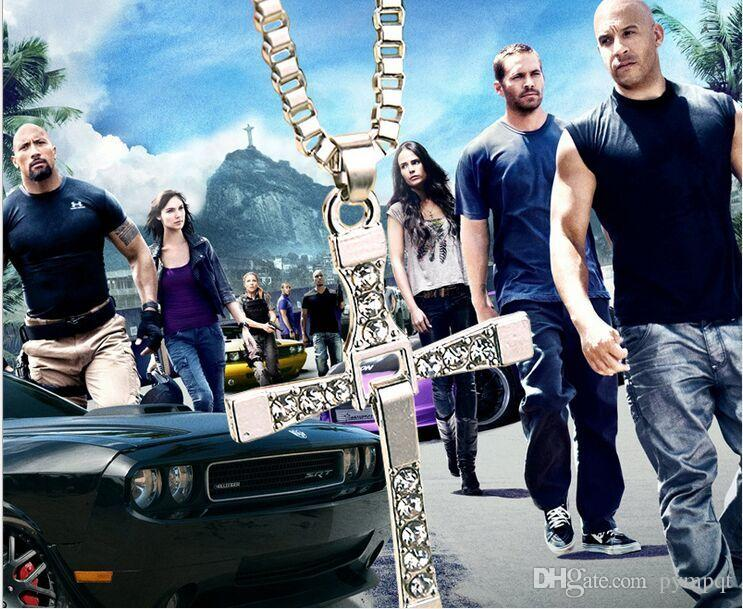 silver plated vintage alloy Movie Fast & Furious necklace same paragraph Dominic Toretto Movable pendant Cross necklace men 2017 Hot x111