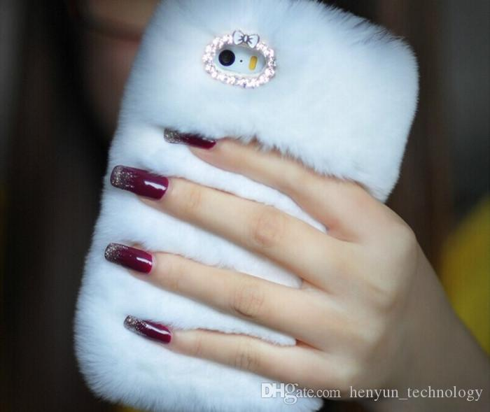 Luxo bling moda fofo real pele de coelho peludo phone case para iphone6 / 6s 4.7