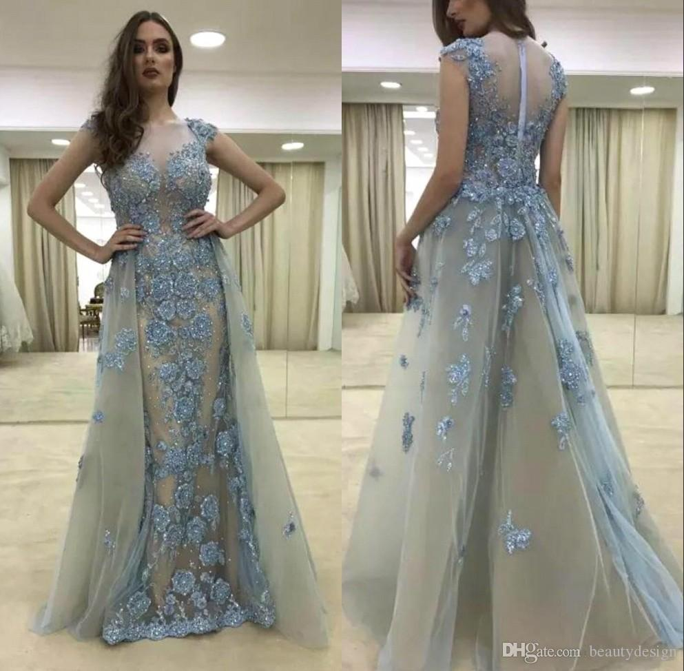 2018 Sexy Lace Capped Sleeve Mermaid Prom Dress Detachable Removable Skirt  Floral Beads Long Evening Gowns Puffy Prom Dresses Short Blue Prom Dresses  From ... d13812ecb