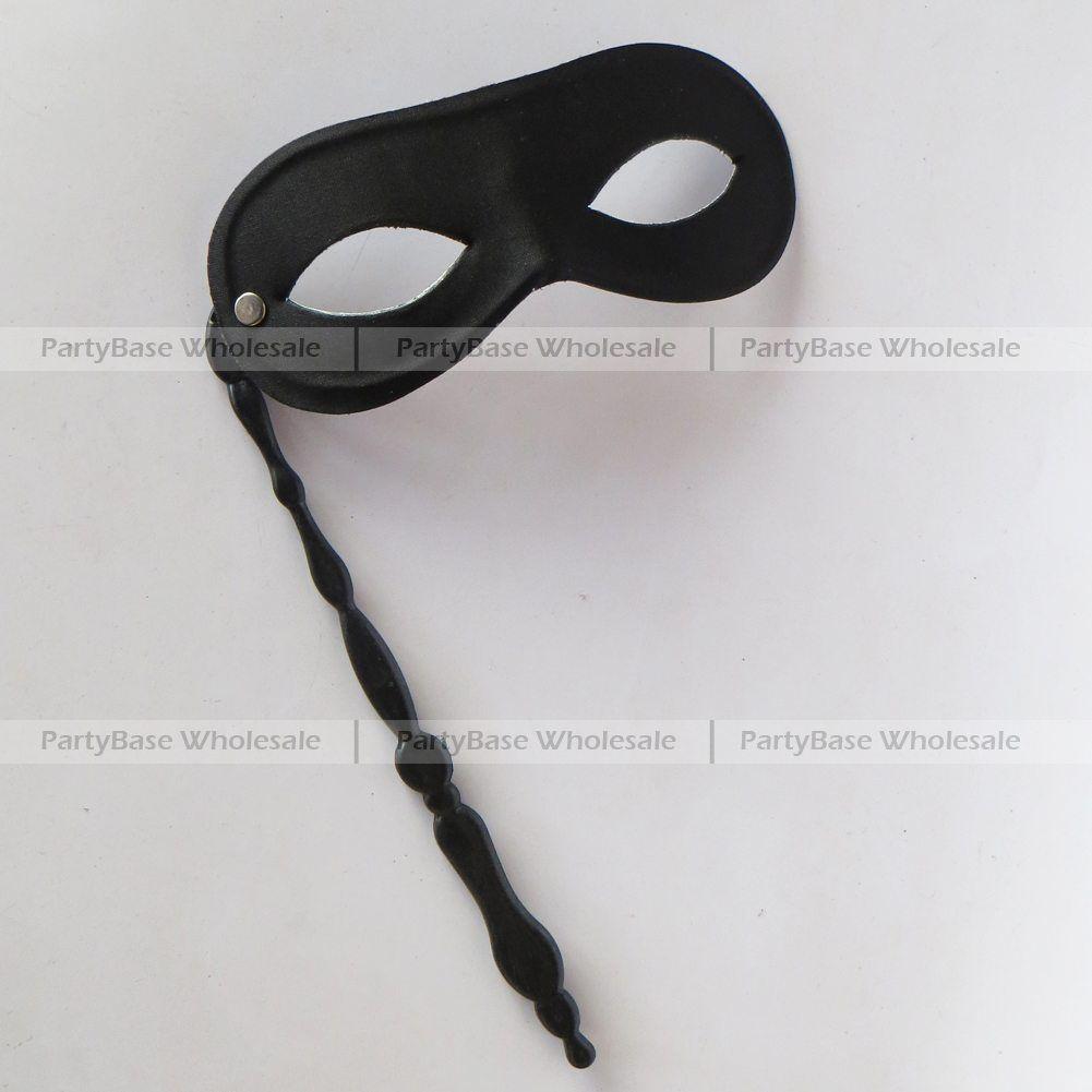 Black Mask On Stick Halloween Masquerade Mask Domino Plain Mask ...