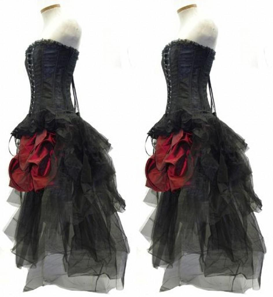 Gothic Corset Fantasy Prom Dresses Beautiful Red And Black Wedding ...