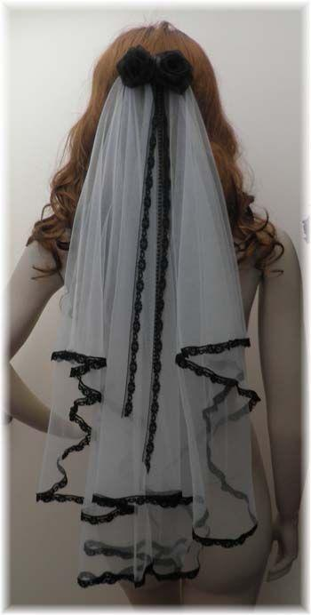 Ücretsiz Kargo İki Katmanlar Kısa Beyaz Ve Siyah Dantel Tül Düğün Peçe Yay Ile Gelin Aksesuarları Gotik Custom Made Gelin Peçe