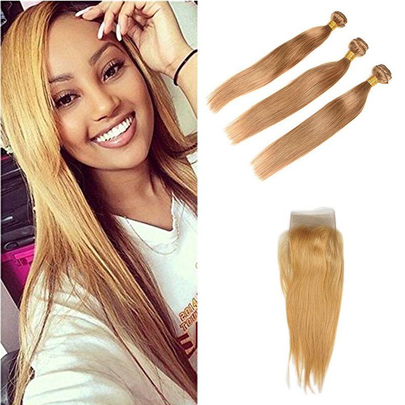 Brazilian Siky Straight Hair Bundles Pure 27 Honey Blonde Color