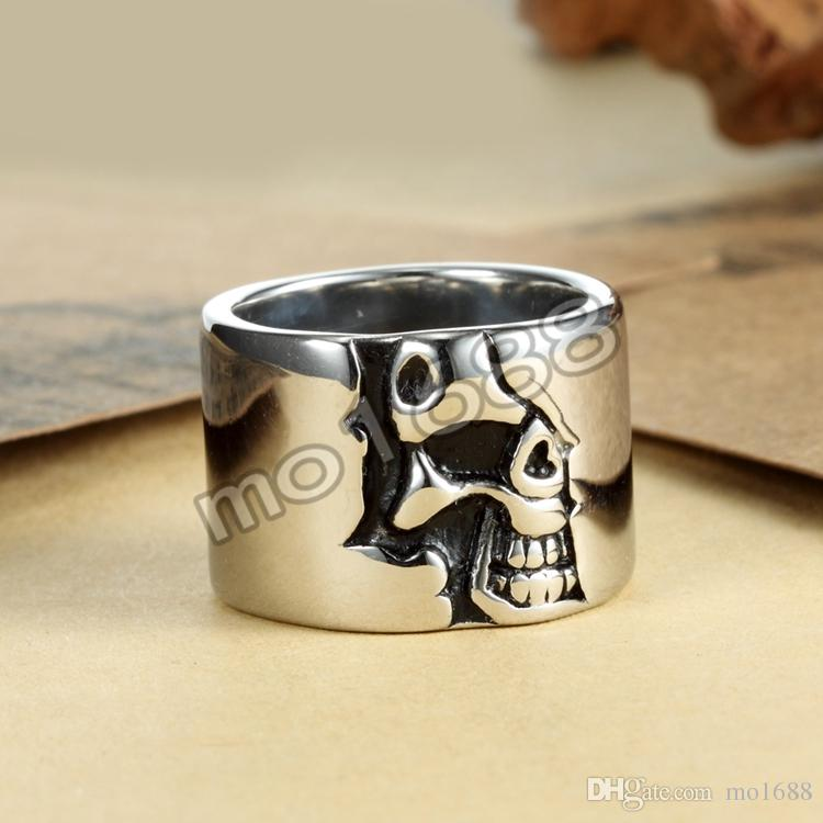 Anel grande de prata fresco de aço inoxidável do crânio do círculo de 316L Siver