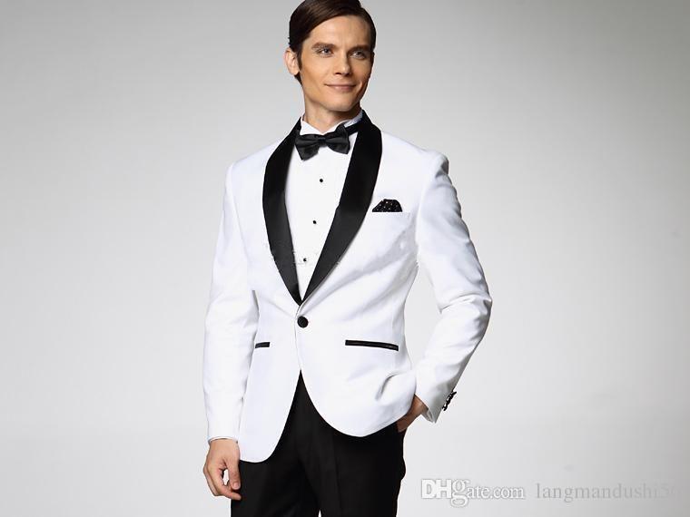 Summer Style New White Coat And Black Satin Lapels Groom Dress ...
