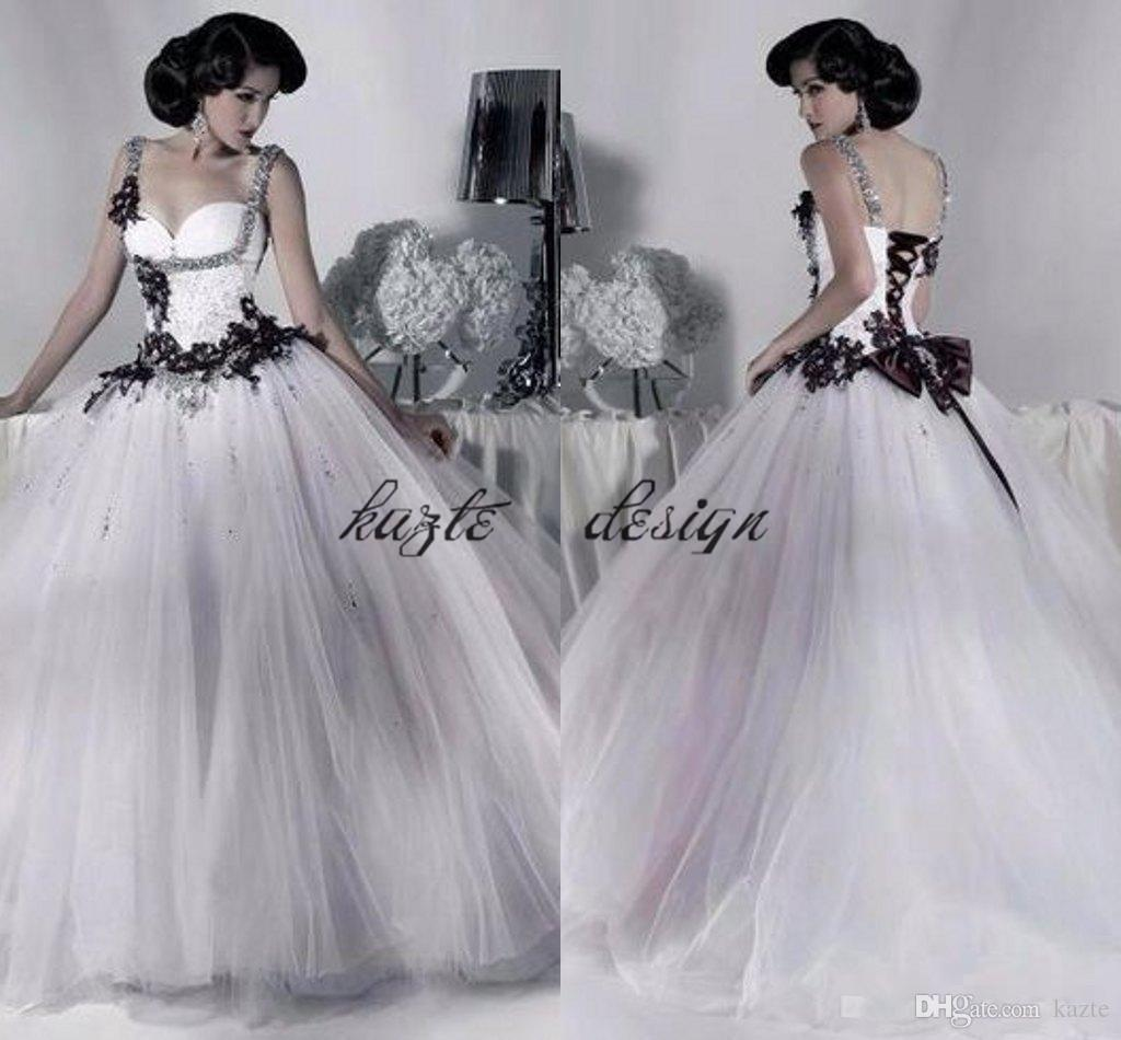 Discount Vintage Black And White Gothic Corset Wedding Dresses 2018 ...
