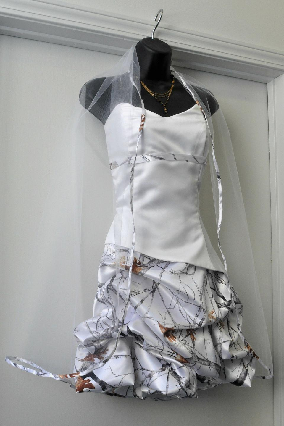 Discount Short White Camo Wedding Dresses Sweetheart Snow Camouflage
