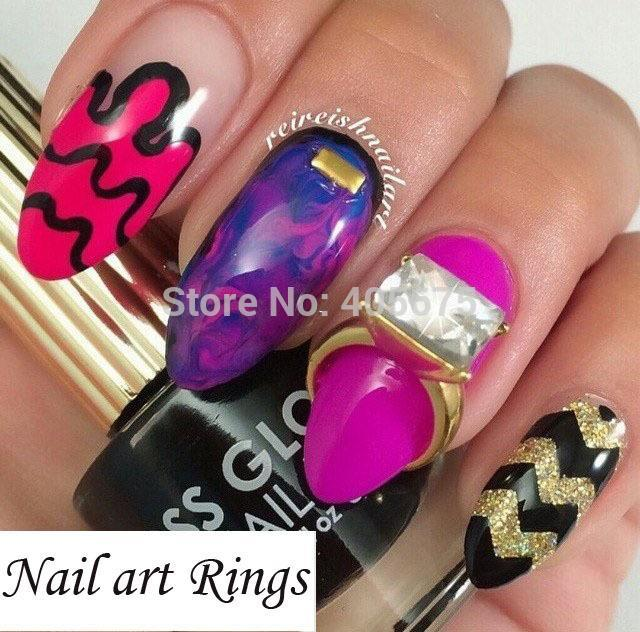 Nail Art Rings Glitter Square Strass Rhinestones Nails Decorations