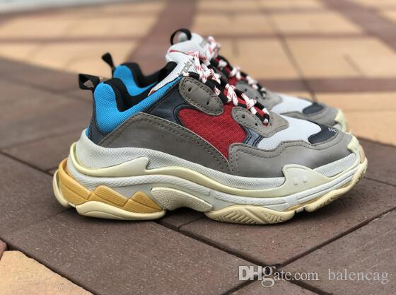 8a28ec25ac7 Acheter 2017 Haute Qualité Dévoile Nouveau Noir Triple S Sneakers ...