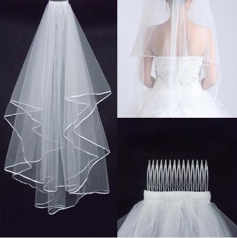 أرخص اثنين من طبقة الحجاب الزفاف ريال حديقة الحجاب الكتف طول مع مشط جودة عالية الأبيض الحجاب لحضور حفل زفاف HT50