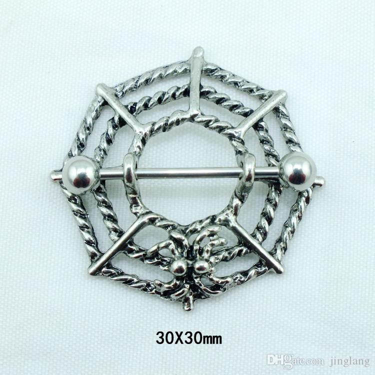Moda Chegada Mamilo Anéis Aço Inoxidável 316L Barbell Retro Web Hipoalergênico Body Piercing Jóias Frete Grátis