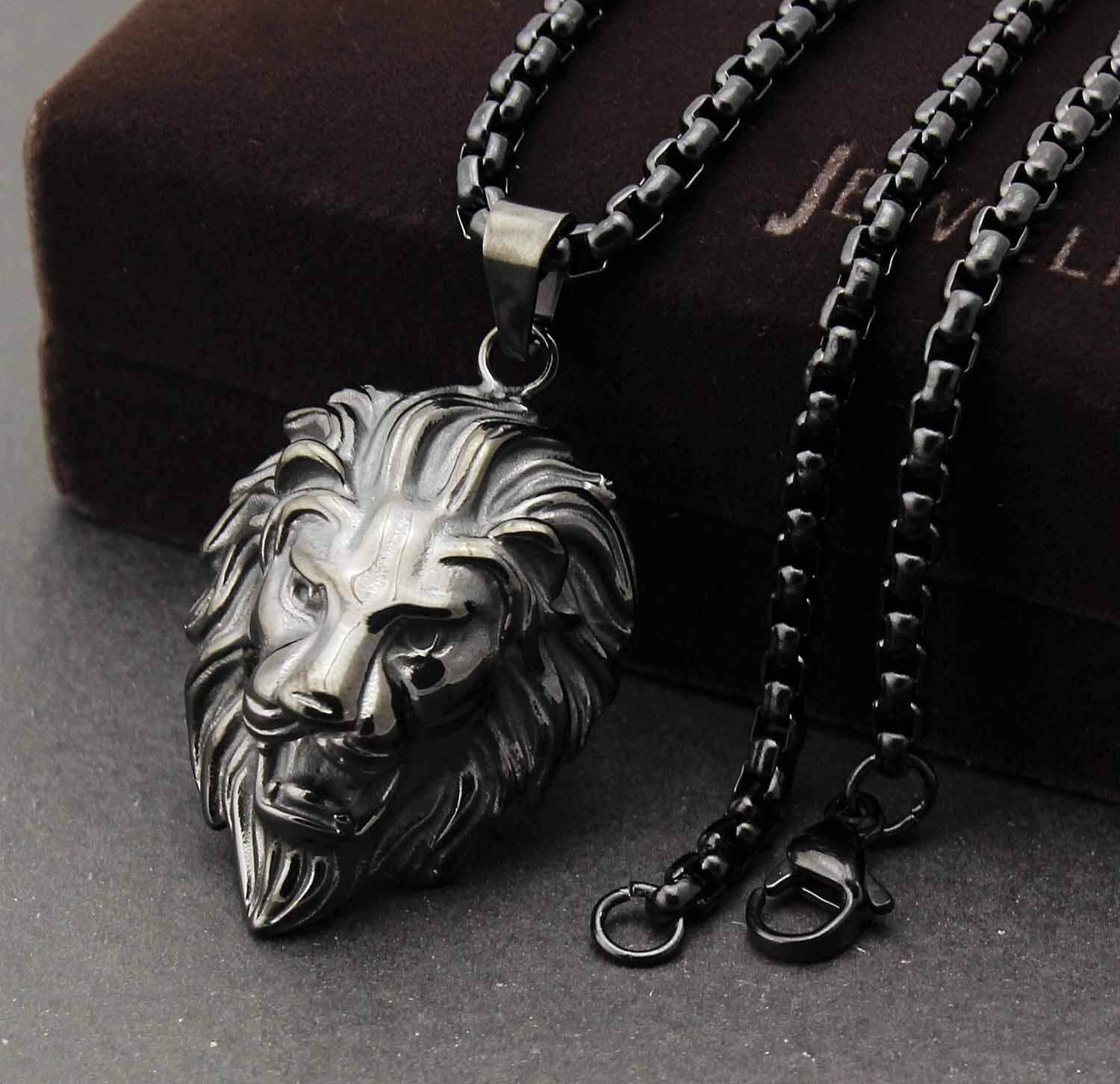 Men's 316L Stainless Steel Biker Black Lion Head pendant Charm necklace Chain