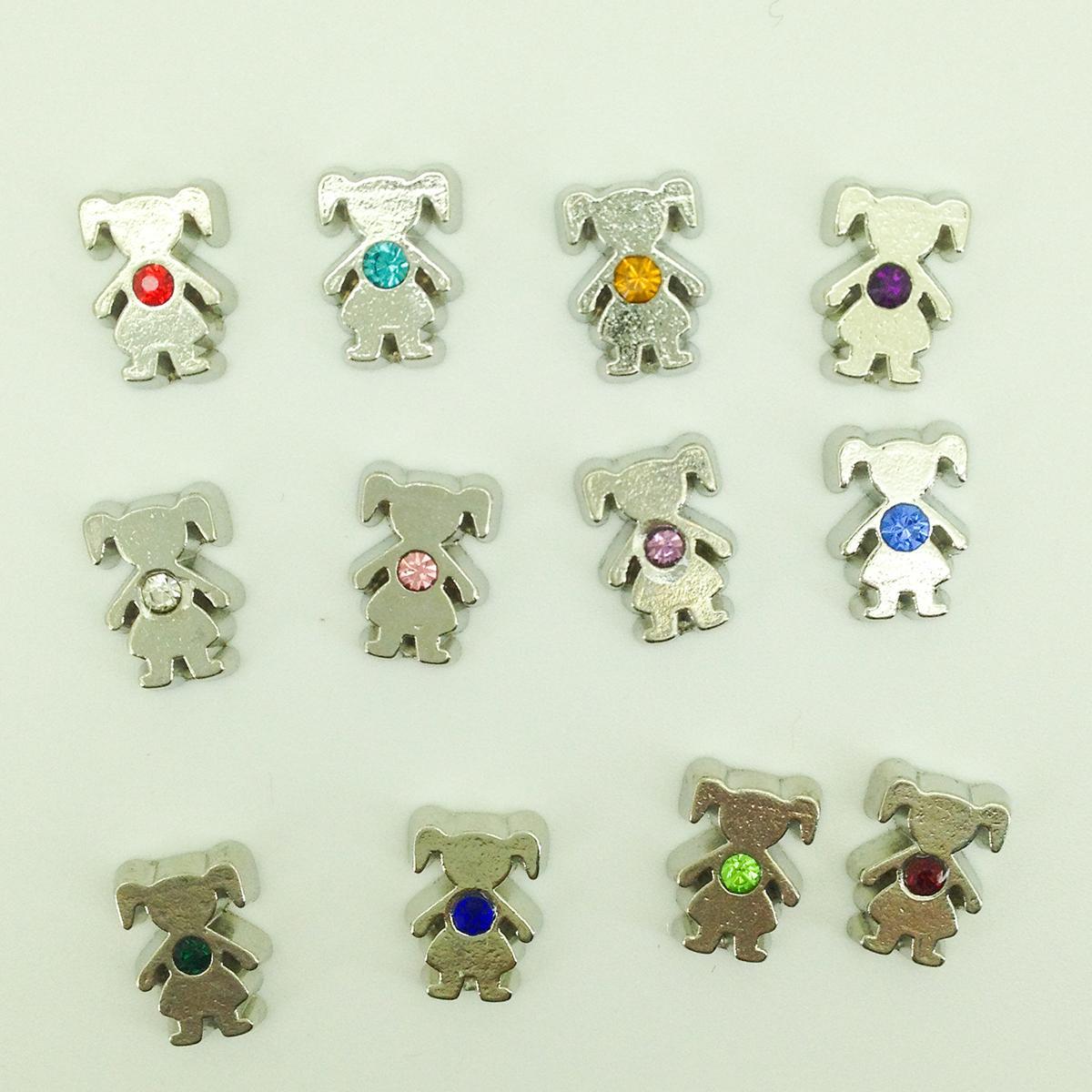 120 adet / grup DIY yeni kız rhinestone birthstones doğum günü taşları 12 renkler her renk için 10 adet yüzer charms cam yaşam hafıza lockets