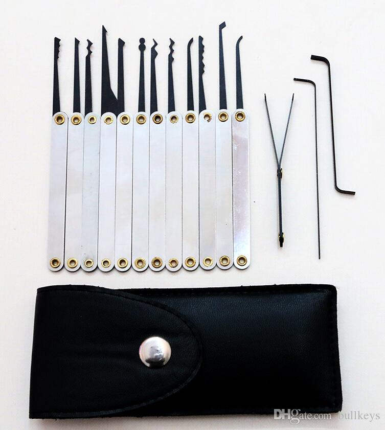 Buena calidad 12 unids Funda de cuero Lock Pick Case manijas inoxidables con bolsa que retira el conjunto de llaves Herramientas de cerrajería Lockpick Lock Opener BK031