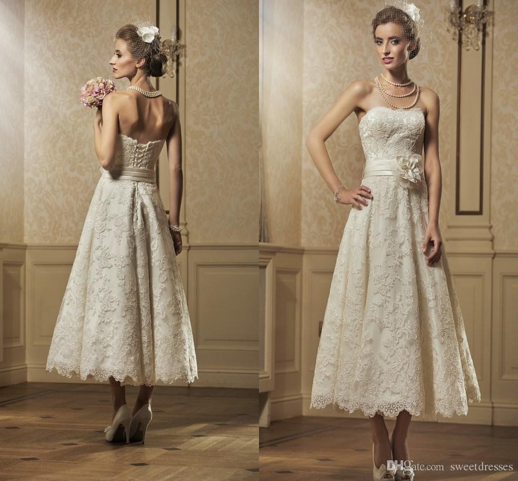 Simple Elegant 2015 Women Summer Wedding Dresses Flowing: Discount Classic Ivory Lace Strapless Teal Length A Line