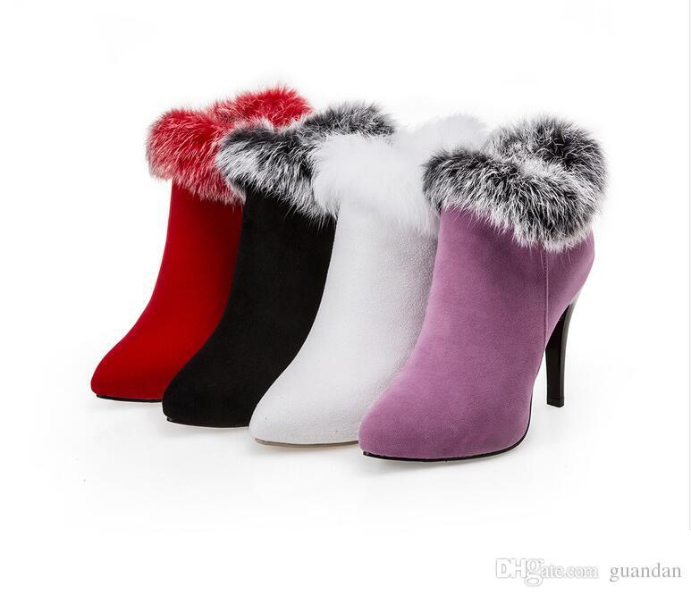 Sexy Frauen Stiefel Winter High Heels Stiefeletten Schuhe Frauen Herbst Damen Kurze Stiefel Schnee Pelz Zip Weiß Rot Große Größe 11
