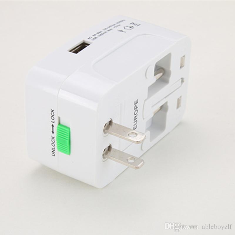 Универсальный сетевой адаптер для путешествий EU UK US AU Электрическая вилка для настенного питания Международный адаптер для путешествий с 1 USB зарядным устройством