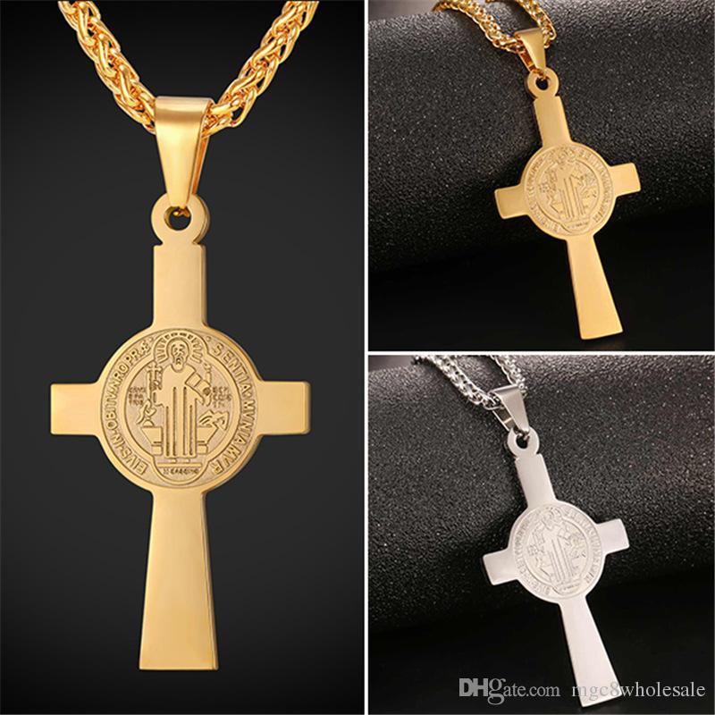 6aa55b0131b Wholesale U7 Saint Benedict Cross Pendant Necklace 18K Gold Plated/Stainless  Steel St. Benedict Of Nursia Christian Jewelry For Men/Women GP2517  Amethyst ...