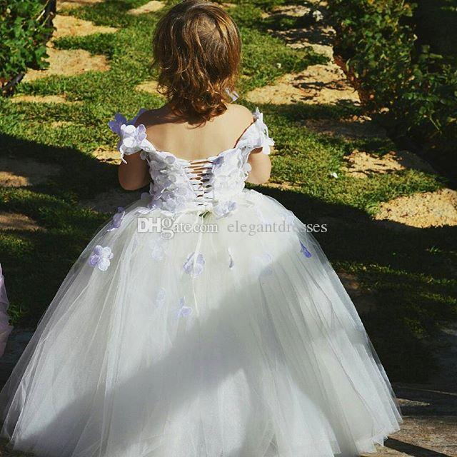 Flores blancas 2021 Vestidos de las muchachas de las flores para los vestidos de bolas de tul de boda con encaje apliques perlas niñas niñas Pago vestidos de fiesta