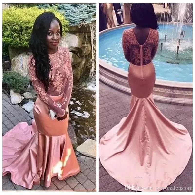 2018 O Neck Lace Long Sleeves Mermaid Prom Dresses Sweep Train ...