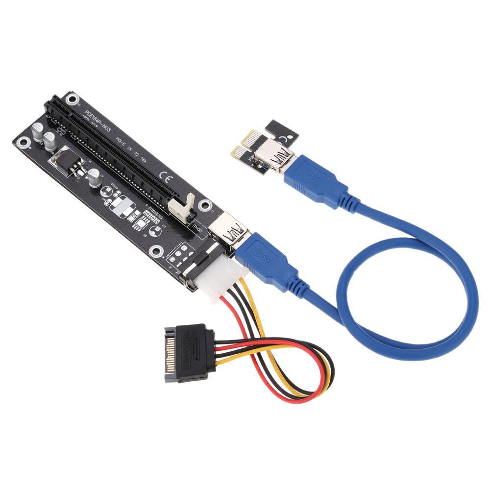 Freeshipping 10 PCS PCI-E PCI Express 1X para 16X Extender Riser placa placa USB 3.0 adaptador com cabo de alimentação SATA cabo USB para Bitcoin Miner
