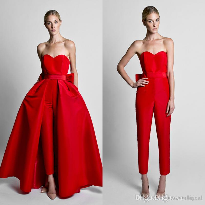 Sleeveless Convertible Prom Dress Jumpsuit With Back Bow Formal ...