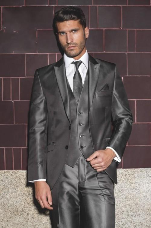 New Arrival Peaked Lapel Shiny Dark Grey Groom Tuxedos Handsome ...
