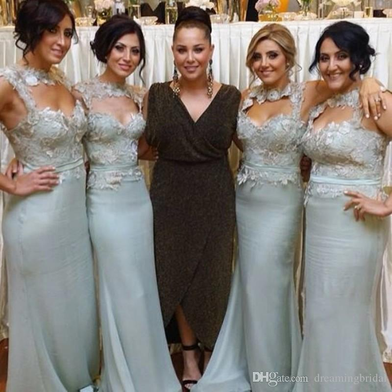 Appliques sirena vestidos de dama de honor 2017 nueva sin mangas cuello alto longitud del piso vestidos de dama de honor vestido de boda por encargo más tamaño