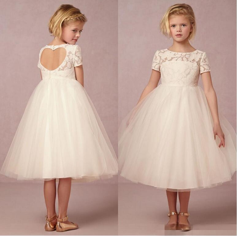 2016 lindas muchachas de las flores blancas viste a los niños niña desfile vestido de longitud de té de encaje Tulle niños vestidos largos niña de las flores por encargo