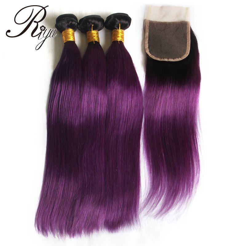 2018 1b Purple Color Straight Hair Ombre Brazilian Virgin Human Hair