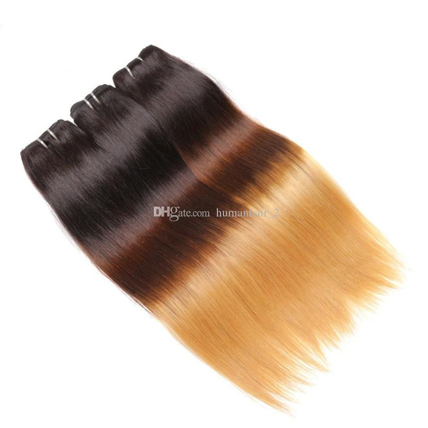 Ombre Haarverlängerungen Brasilianische Seide Gerade Reine Haarwebart Bundles Drei Ton 1b 4 27 # Grade 8A Ombre Remy Menschenhaar Schuss 3 Stücke