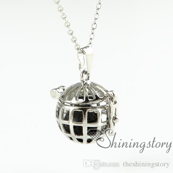 bird cage openwork essential oil diffuser necklace wholesale aromatherapy inhaler aroma necklace natural lava stone
