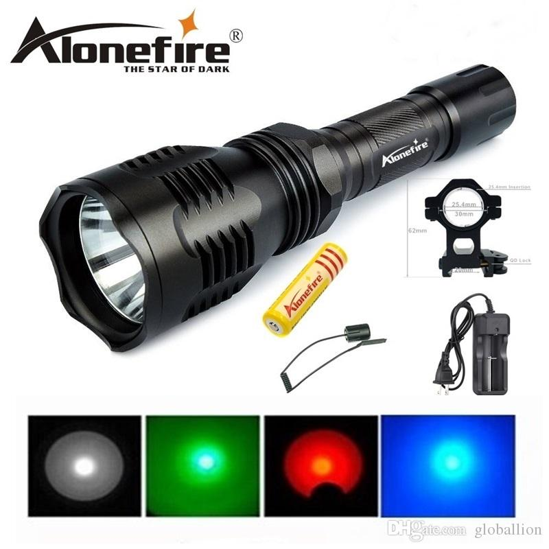 Alonefire HS-802 Cree green/red/blue light led hunting flashlight torch set with battery+charger+tactical switch+gun mount