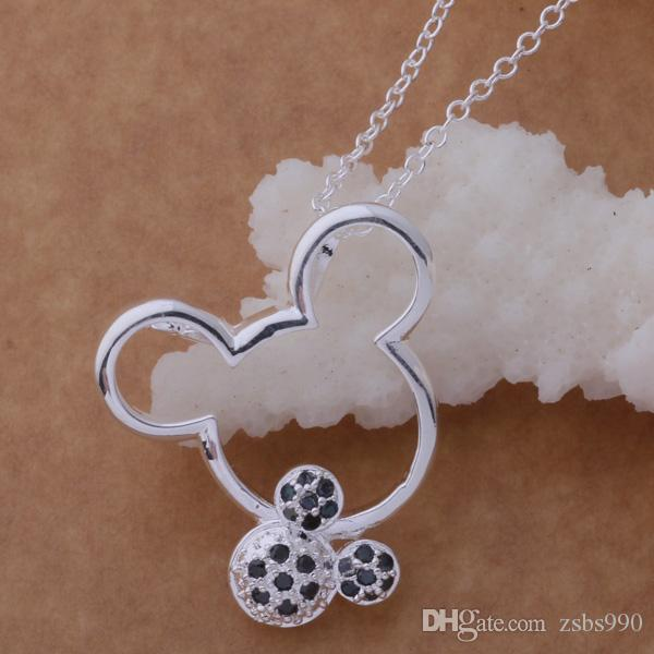 La collana di marca di vendita con il mouse sveglio dell'argento sterlina 925 zircone è il miglior regalo le ragazze spedizione gratuita di alta qualità