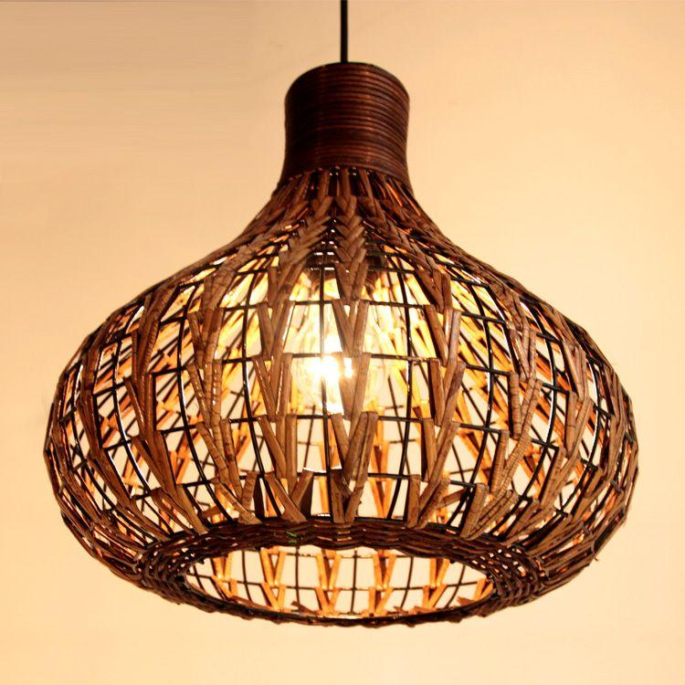 Handmade 14 modern rattan ceiling light lamp living lights fixture study living room light cheap whole sale hanging lamps that plug in plug in hanging lamp
