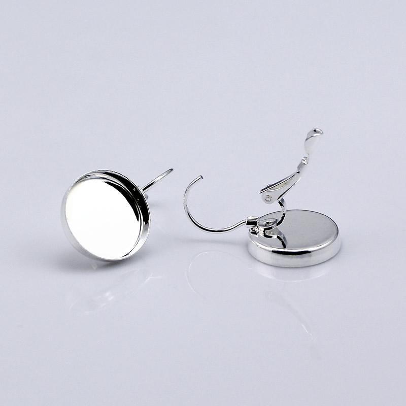 Beadsnice fransk spak tillbaka örhängen blank mässing Bezel örhängen komponenter passar för 15mm runda cabochons ID12136