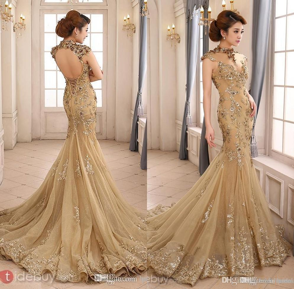 20 Of The Most Stunning Long Sleeve Wedding Dresses Chic: 2017 Prom Dresses Party Evening Gowns High Neck Mermaid