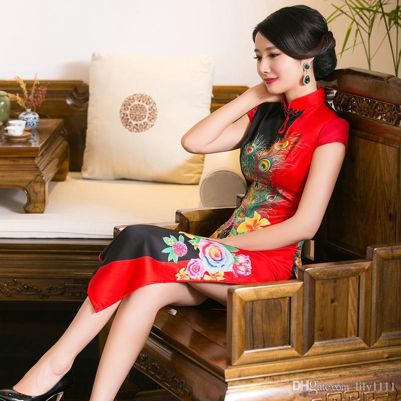 chino tradicional curtos de vestir Vestidos envío libre vestido chino de imitación de seda cheongsam qipao largo de vestir vestido de estilo chino