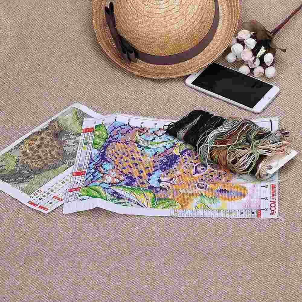 Juego de punto de cruz de costura hecha a mano de bricolaje Decoración del hogar Kit de bordado de punto de cruz de diseño de pequeño leopardo impreso con precisión, dandys