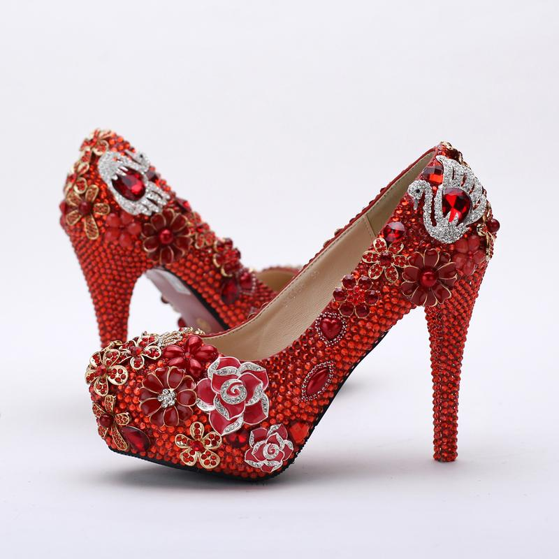 2019 Red Rhinestone Bridal Shoes Gorgeous Wedding Party Prom Shoes