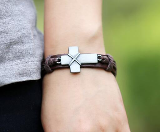 DHL Vintage Leather Bracelet Cross Charm for Men Leather Alloy Jewelry Braided Bracelet Christian Cross Bracelets Party Gift