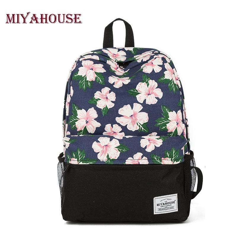 Fashion Backpack Women School Bags For Teenage Girls Cute Bookbags Floral Backpacks  Canvas Female Casual Travel Bag Swiss Army Backpack Black Leather ... 81eebfce5a597